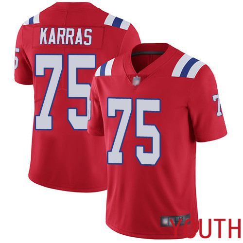 New England Patriots Football 75 Vapor Untouchable Limited Red Youth Ted Karras Alternate NFL Jersey