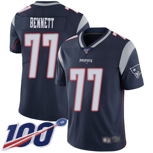 New England Patriots Football 77 100th Limited Navy Blue Men Michael Bennett Home NFL Jersey