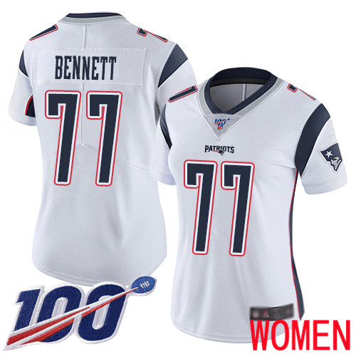 Wholesale New England Patriots Football 77 100th Limited White Women Michael Bennett Road NFL Jersey