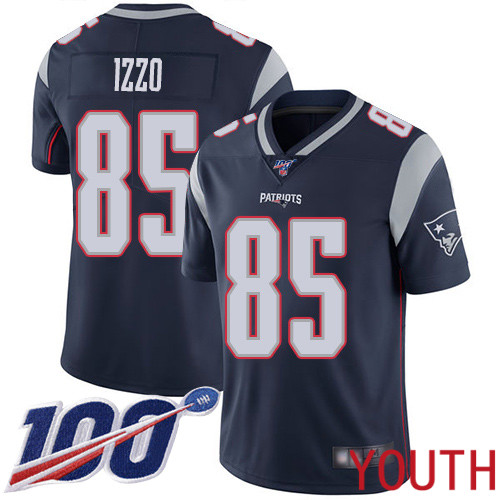 New England Patriots Football 85 Vapor Untouchable 100th Season Limited Navy Blue Youth Ryan Izzo Home NFL Jersey