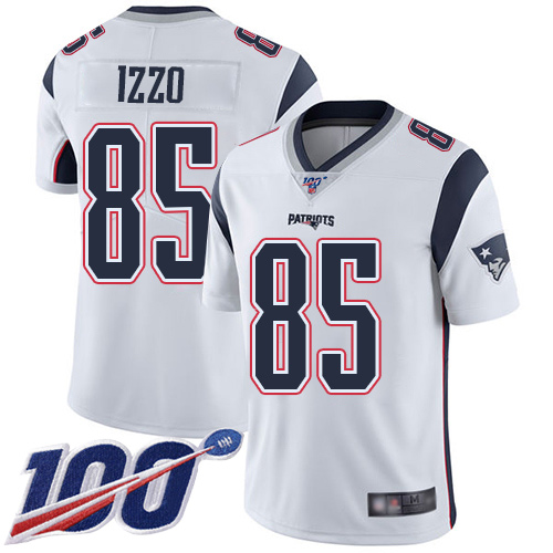 New England Patriots Football 85 Vapor Untouchable 100th Season Limited White Men Ryan Izzo Road NFL Jersey