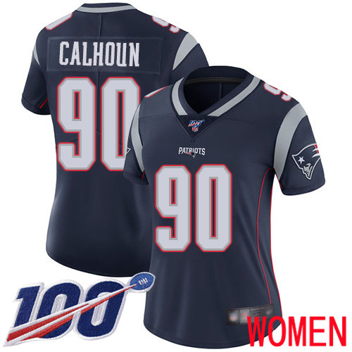 New England Patriots Football 90 100th Limited Navy Blue Women Shilique Calhoun Home NFL Jersey
