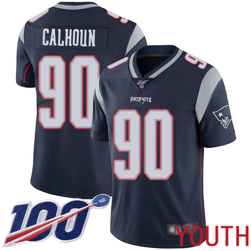 New England Patriots Football 90 100th Limited Navy Blue Youth Shilique Calhoun Home NFL Jersey