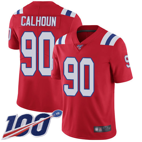 New England Patriots Football 90 100th Limited Red Men Shilique Calhoun Alternate NFL Jersey