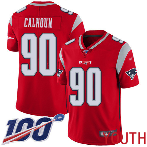 New England Patriots Football 90 100th Season Limited Red Youth Shilique Calhoun NFL Jersey