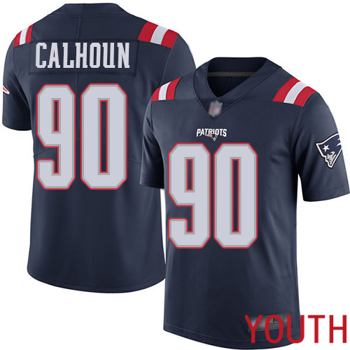 New England Patriots Football 90 Rush Vapor Limited Navy Blue Youth Shilique Calhoun NFL Jersey