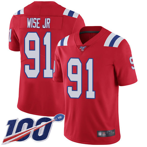 New England Patriots Football 91 100th Season Limited Red Men Deatrich Wise Jr Alternate NFL Jersey
