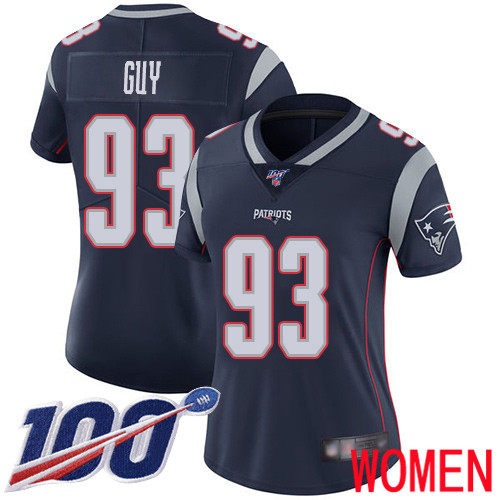 New England Patriots Football 93 100th Limited Navy Blue Women Lawrence Guy Home NFL Jersey