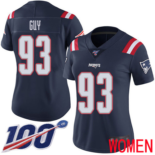 New England Patriots Football 93 100th Season Limited Navy Blue Women Lawrence Guy NFL Jersey