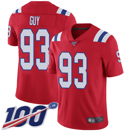 New England Patriots Football 93 Vapor Untouchable 100th Season Untouchable Limited Red Men Lawrence Guy Alternate NFL Jersey
