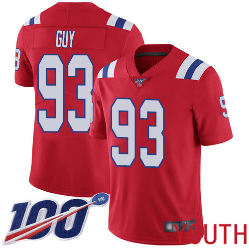 New England Patriots Football 93 Vapor Untouchable 100th Season Untouchable Limited Red Youth Lawrence Guy Alternate NFL Jersey