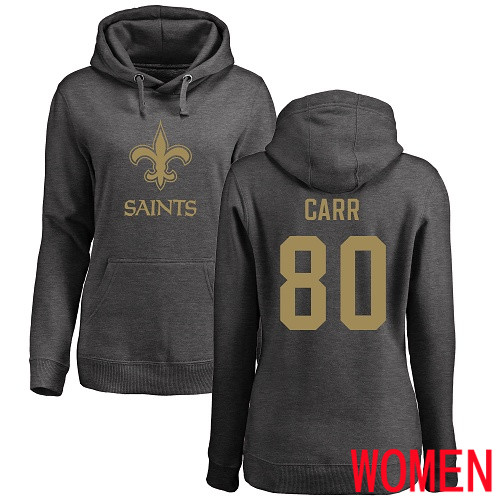 Wholesale New Orleans Saints Ash Women Austin Carr One Color NFL Football 80 Pullover Hoodie Sweatshirts