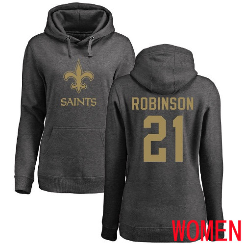 Wholesale New Orleans Saints Ash Women Patrick Robinson One Color NFL Football 21 Pullover Hoodie Sweatshirts