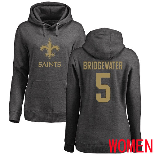 New Orleans Saints Ash Women Teddy Bridgewater One Color NFL Football 5 Pullover Hoodie Sweatshirts