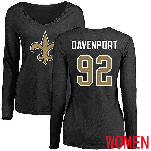 New Orleans Saints Black Women Marcus Davenport Name and Number Logo Slim Fit NFL Football 92 Long Sleeve T Shirt