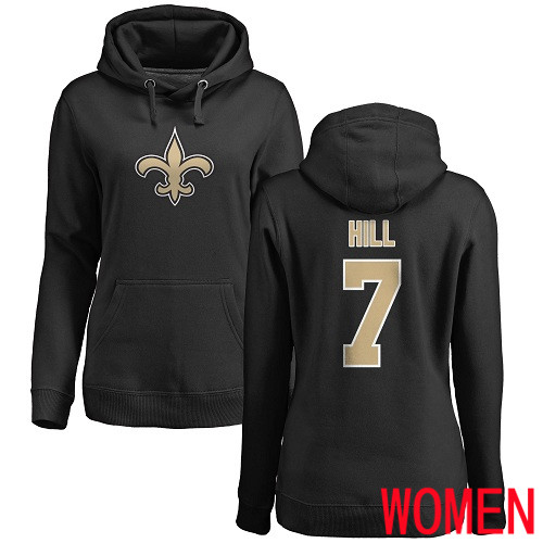 Wholesale New Orleans Saints Black Women Taysom Hill Name and Number Logo NFL Football 7 Pullover Hoodie Sweatshirts
