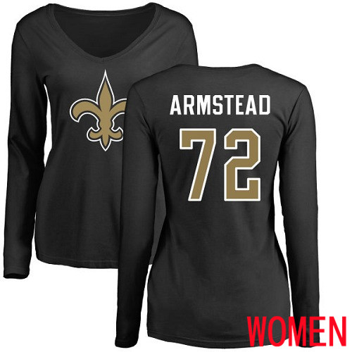 New Orleans Saints Black Women Terron Armstead Name and Number Logo Slim Fit NFL Football 72 Long Sleeve T Shirt