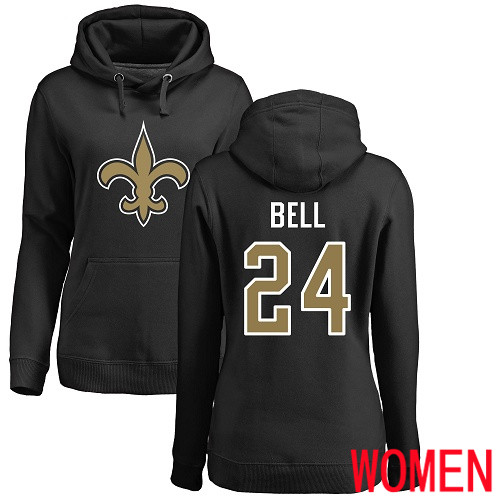 Wholesale New Orleans Saints Black Women Vonn Bell Name and Number Logo NFL Football 24 Pullover Hoodie Sweatshirts