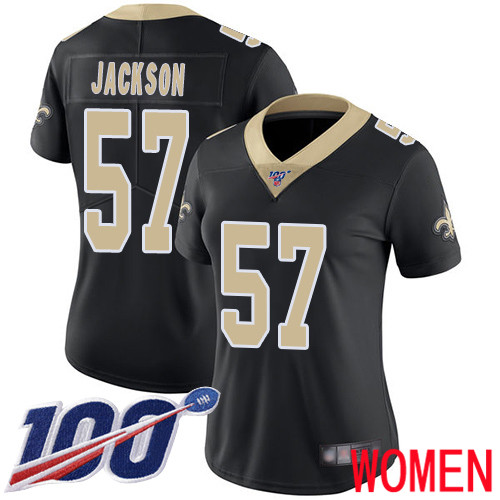 New Orleans Saints Limited Black Women Rickey Jackson Home Jersey NFL Football 57 100th Season Vapor Untouchable Jersey