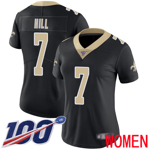 Wholesale New Orleans Saints Limited Black Women Taysom Hill Home Jersey NFL Football 7 100th Season Vapor Untouchable Jersey