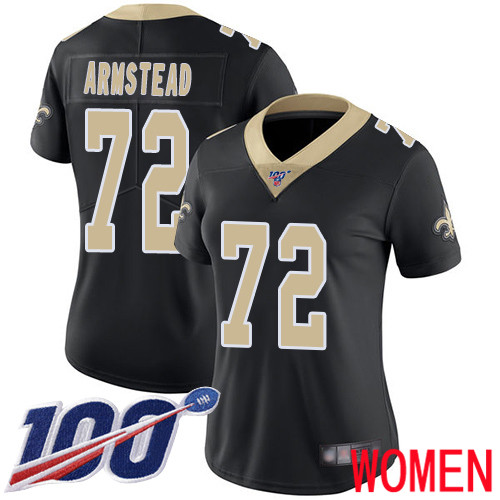 New Orleans Saints Limited Black Women Terron Armstead Home Jersey NFL Football 72 100th Season Vapor Untouchable Jersey
