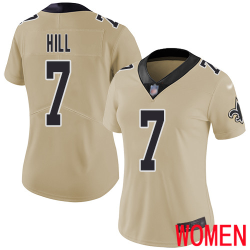 New Orleans Saints Limited Gold Women Taysom Hill Jersey NFL Football 7 Inverted Legend Jersey