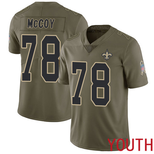 New Orleans Saints Limited Olive Youth Erik McCoy Jersey NFL Football 78 2017 Salute to Service Jersey