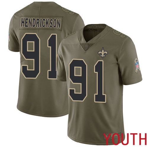 New Orleans Saints Limited Olive Youth Trey Hendrickson Jersey NFL Football 91 2017 Salute to Service Jersey