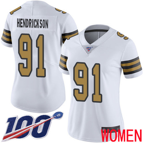 New Orleans Saints Limited White Women Trey Hendrickson Jersey NFL Football 91 100th Season Rush Vapor Untouchable Jersey