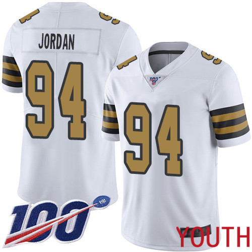 New Orleans Saints Limited White Youth Cameron Jordan Jersey NFL Football 94 100th Season Rush Vapor Untouchable Jersey