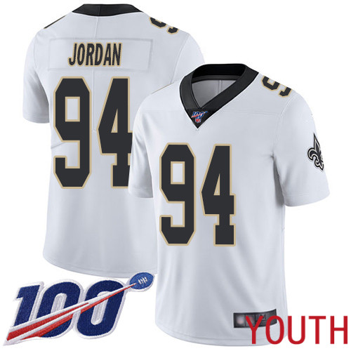 New Orleans Saints Limited White Youth Cameron Jordan Road Jersey NFL Football 94 100th Season Vapor Untouchable Jersey