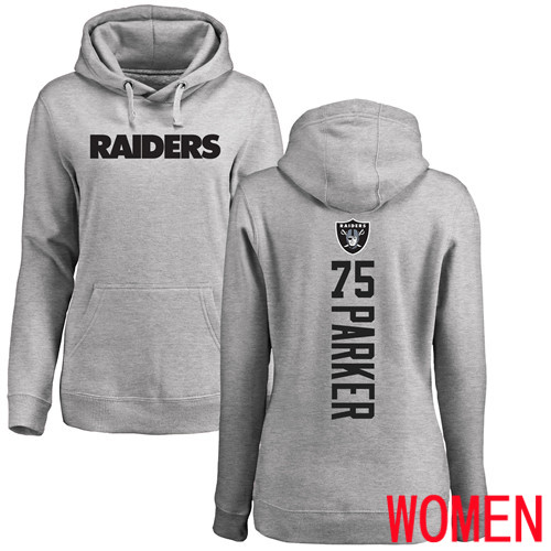 Oakland Raiders Ash Women Brandon Parker Backer NFL Football 75 Pullover Hoodie Sweatshirts