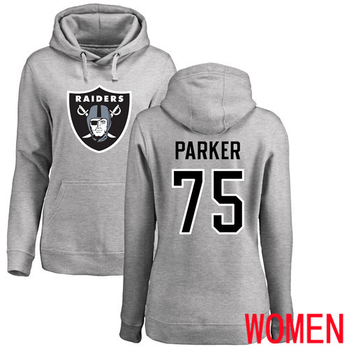 Oakland Raiders Ash Women Brandon Parker Name and Number Logo NFL Football 75 Pullover Hoodie Sweatshirts