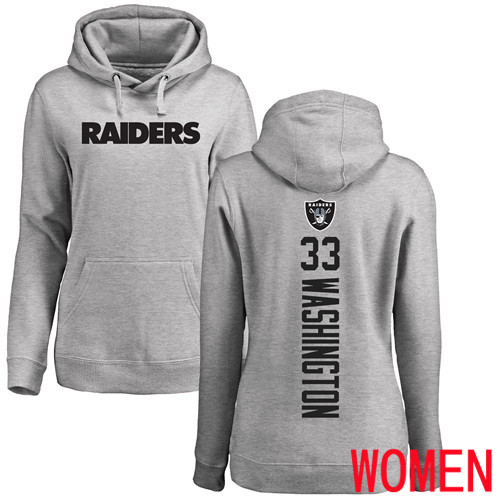 Wholesale Oakland Raiders Ash Women DeAndre Washington Backer NFL Football 33 Pullover Hoodie Sweatshirts