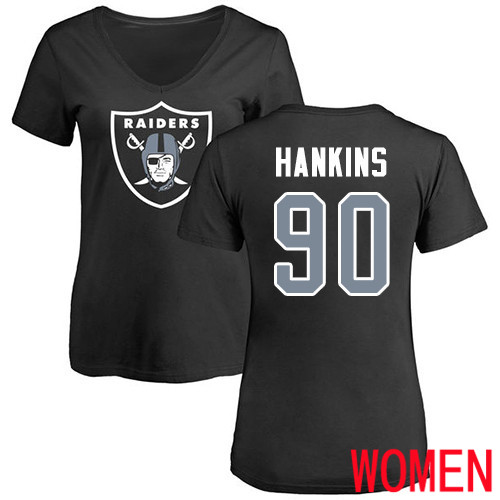 Oakland Raiders Black Women Johnathan Hankins Name and Number Logo NFL Football 90 T Shirt