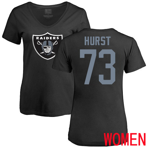 Oakland Raiders Black Women Maurice Hurst Name and Number Logo NFL Football 73 T Shirt