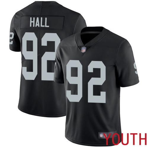 Oakland Raiders Limited Black Youth P J Hall Home Jersey NFL Football 92 Vapor Untouchable Jersey