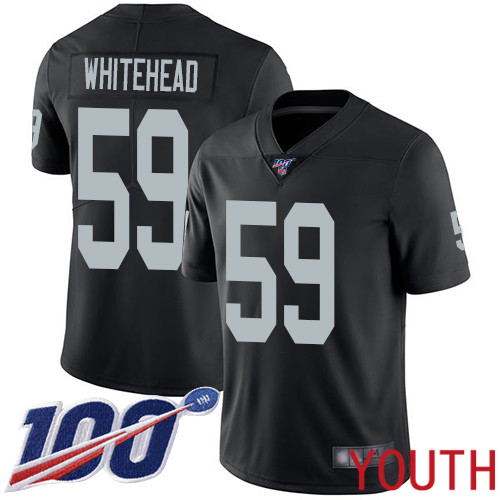 Oakland Raiders Limited Black Youth Tahir Whitehead Home Jersey NFL Football 59 100th Season Vapor Jersey