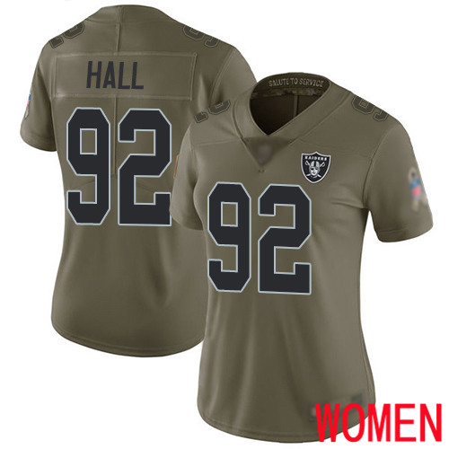 Oakland Raiders Limited Olive Women P J Hall Jersey NFL Football 92 2017 Salute to Service Jersey