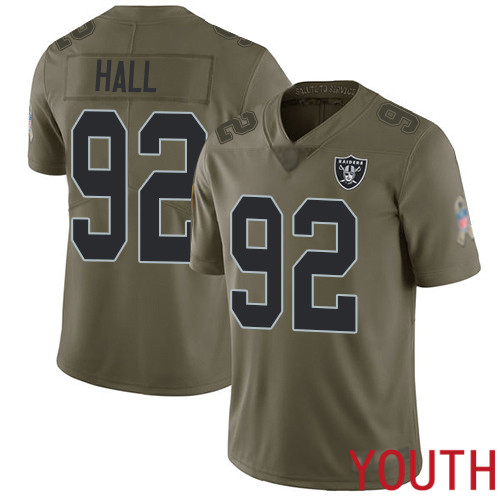 Oakland Raiders Limited Olive Youth P J Hall Jersey NFL Football 92 2017 Salute to Service Jersey