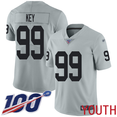 Oakland Raiders Limited Silver Youth Arden Key Jersey NFL Football 99 100th Season Inverted Legend Jersey