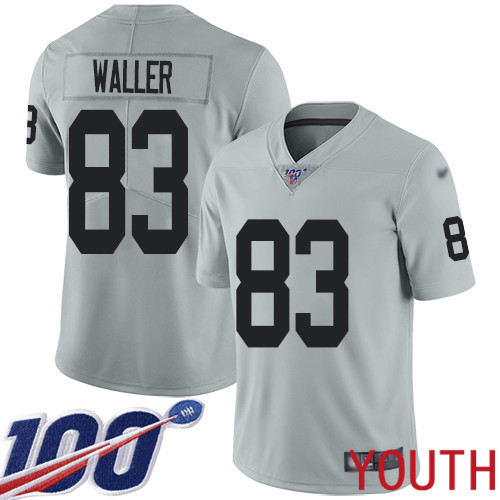 Oakland Raiders Limited Silver Youth Darren Waller Jersey NFL Football 83 100th Season Inverted Legend Jersey