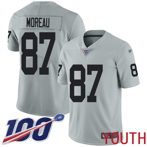 Oakland Raiders Limited Silver Youth Foster Moreau Jersey NFL Football 87 100th Season Inverted Jersey