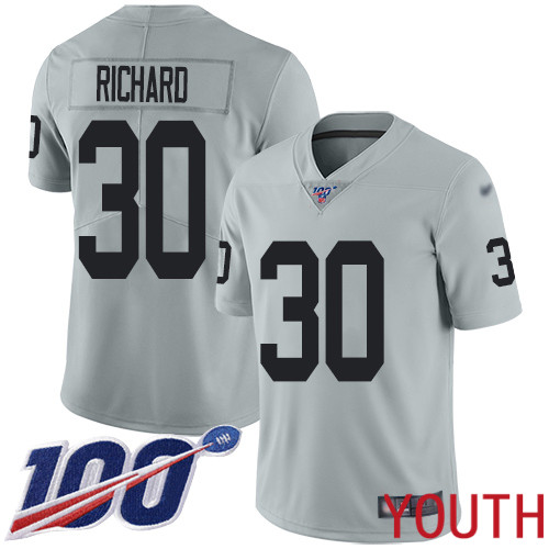 Oakland Raiders Limited Silver Youth Jalen Richard Jersey NFL Football 30 100th Season Inverted Legend Jersey