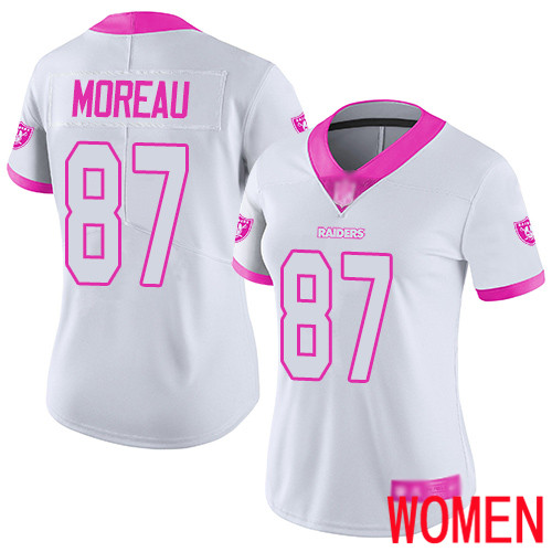 Oakland Raiders Limited White Pink Women Foster Moreau Jersey NFL Football 87 Rush Fashion Jersey
