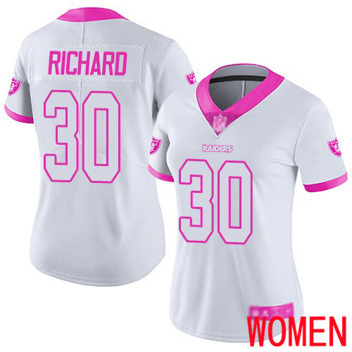 Oakland Raiders Limited White Pink Women Jalen Richard Jersey NFL Football 30 Rush Fashion Jersey