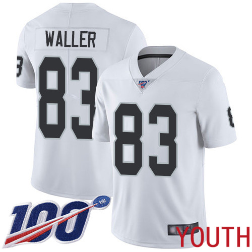 Oakland Raiders Limited White Youth Darren Waller Road Jersey NFL Football 83 100th Season Vapor Jersey