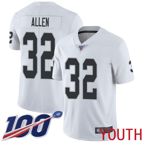 Oakland Raiders Limited White Youth Marcus Allen Road Jersey NFL Football 32 100th Season Vapor Jersey