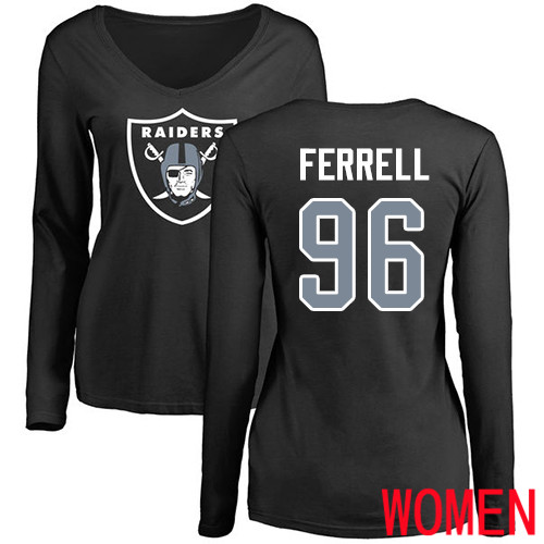 Oakland Raiders Olive Women Clelin Ferrell Name and Number Logo NFL Football 96 Long Sleeve T Shirt