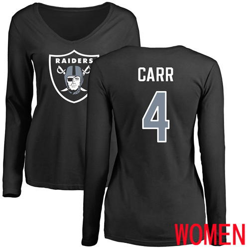 Oakland Raiders Olive Women Derek Carr Name and Number Logo NFL Football 4 Long Sleeve T Shirt